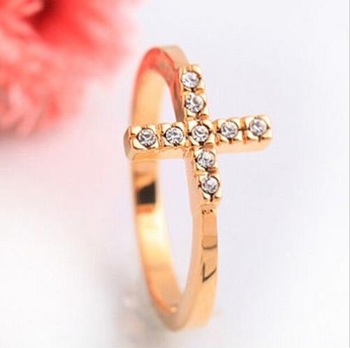 Fashion Women Fashion Jewelry Cross Finger Ring Rhinestone Ring 1PCS