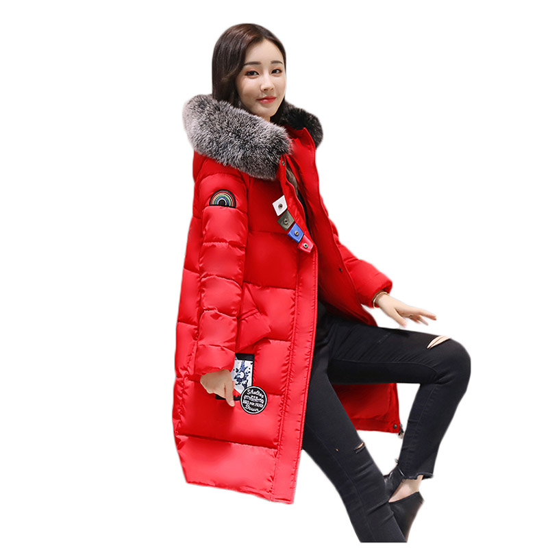 2017 New Women Long Winter Jacket Plus Size Thick Warm Cotton Coat Hooded Bigger Fur Collar Female Parkas Wadded Outerwear Coats wadded cotton jacket 2017 new winter long parkas hooded slim coat pattern designs thick warm coat plus sizes female outwears
