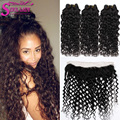 7A Malaysian water wave with Frontal closure 13x4 ear to ear lace frontal closure with 3 bundles Human Hair Bundles with Frontal
