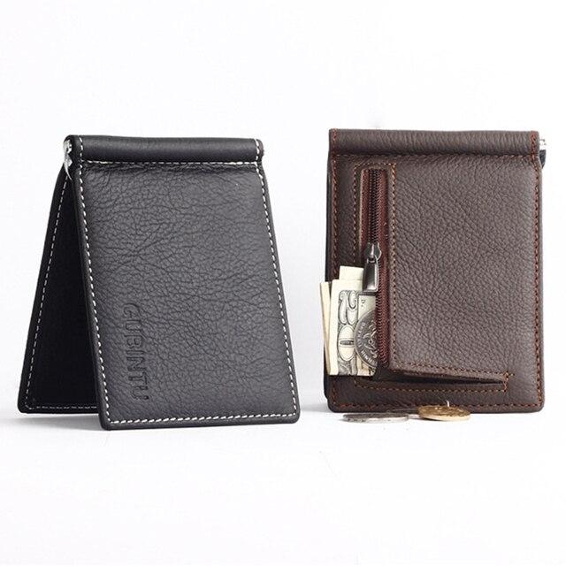2b964a7a4b Portafoglio uomo soft money clip in pelle con tasca portamonete con  cerniera slim uomini borsa dei
