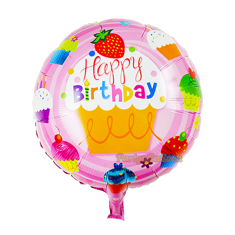 Birthday Balloons 45cm Round Bubble Happy Birthday Cake Design for Baby Boy Girl