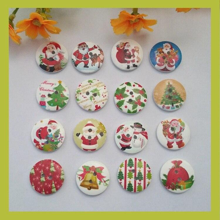 √80 unids 20mm serie de Navidad botones de madera costura 2 ...