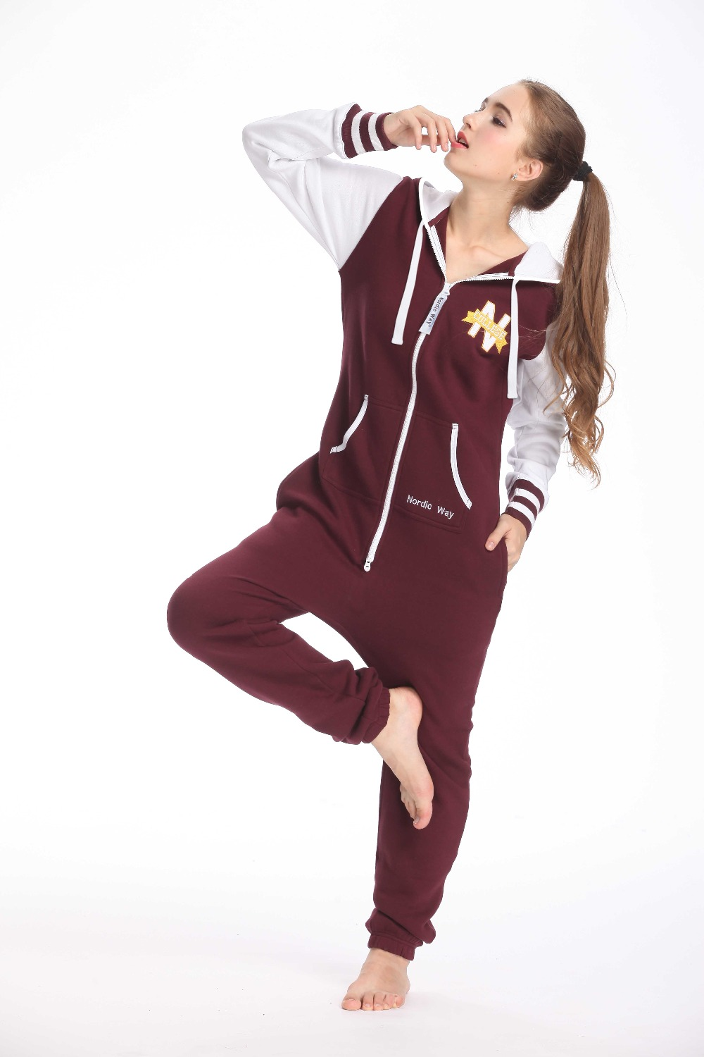 Nordic Way College Print Romper One Piece Jumpsuit Adult Unisex Playsuit Hoody Fleece Onsie