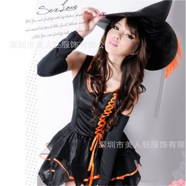 sexy black witch swallow dress carnival party with hat cosplay costumes 2016 new plus size halloween