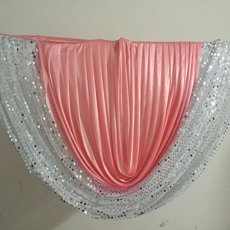 Coral wedding decoration party sequin wedding backdrop swags curtain design detachable 1.5 meter x 0.7 meter height