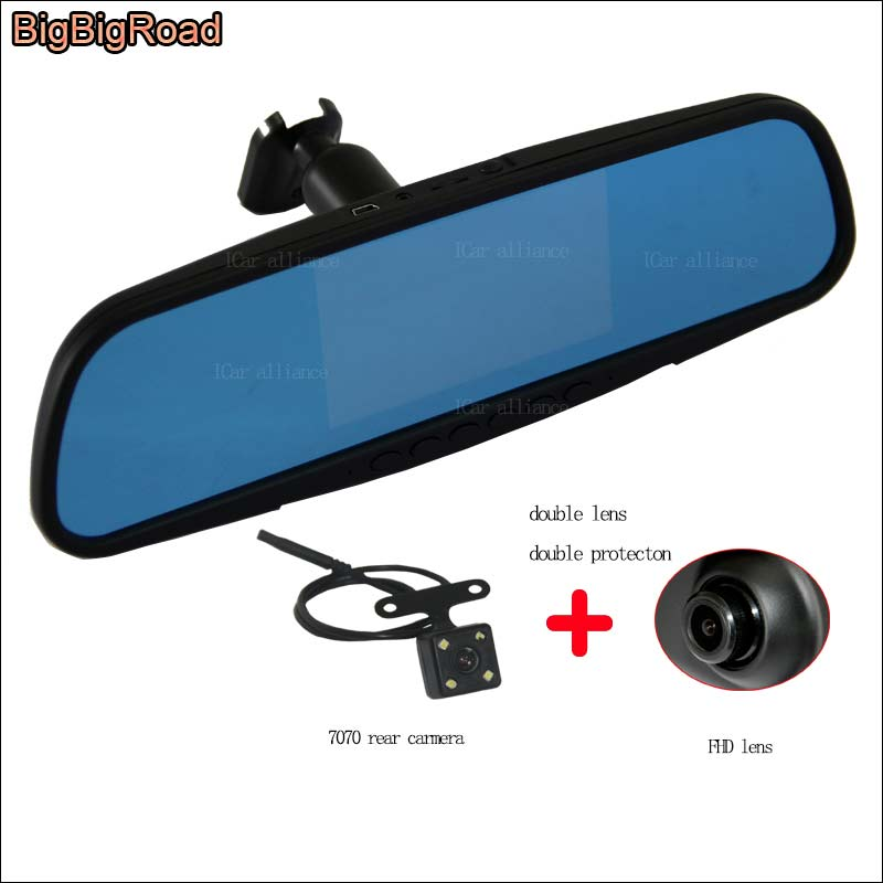 BigBigRoad For toyota vios Dual Lens Car DVR Blue Screen Video Recorder Dash Cam 4.3 inch Parking Monitor with Original Bracket 2 7 inch r310 tft lcd dual 2 lens car dvr video recorder
