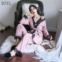 BZEL Autumn Winter Sexy Pajama Sets Long Sleeve Female Sleepwear Cotton Home Wears 3 Piece Suit Cotton Underwear V neck Pyjamas