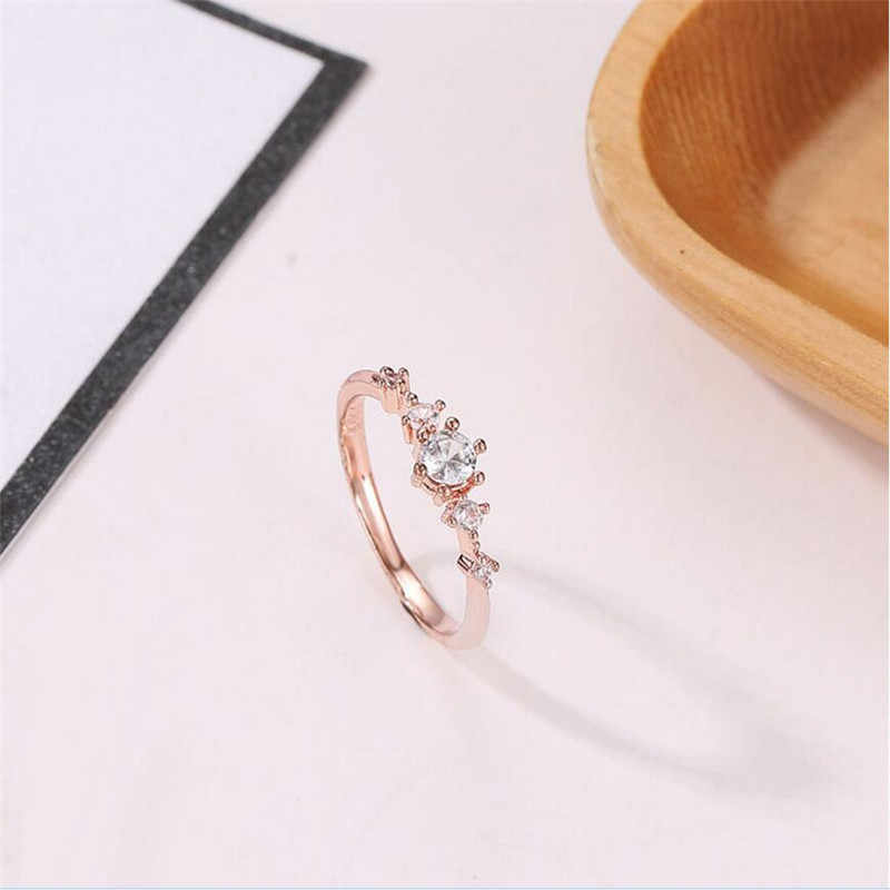 1097217ffd ... Elegant Rainbow Opal Ring Fashion White CZ Wedding Jewelry Rose Gold  Filled Engagement Promise Rings for