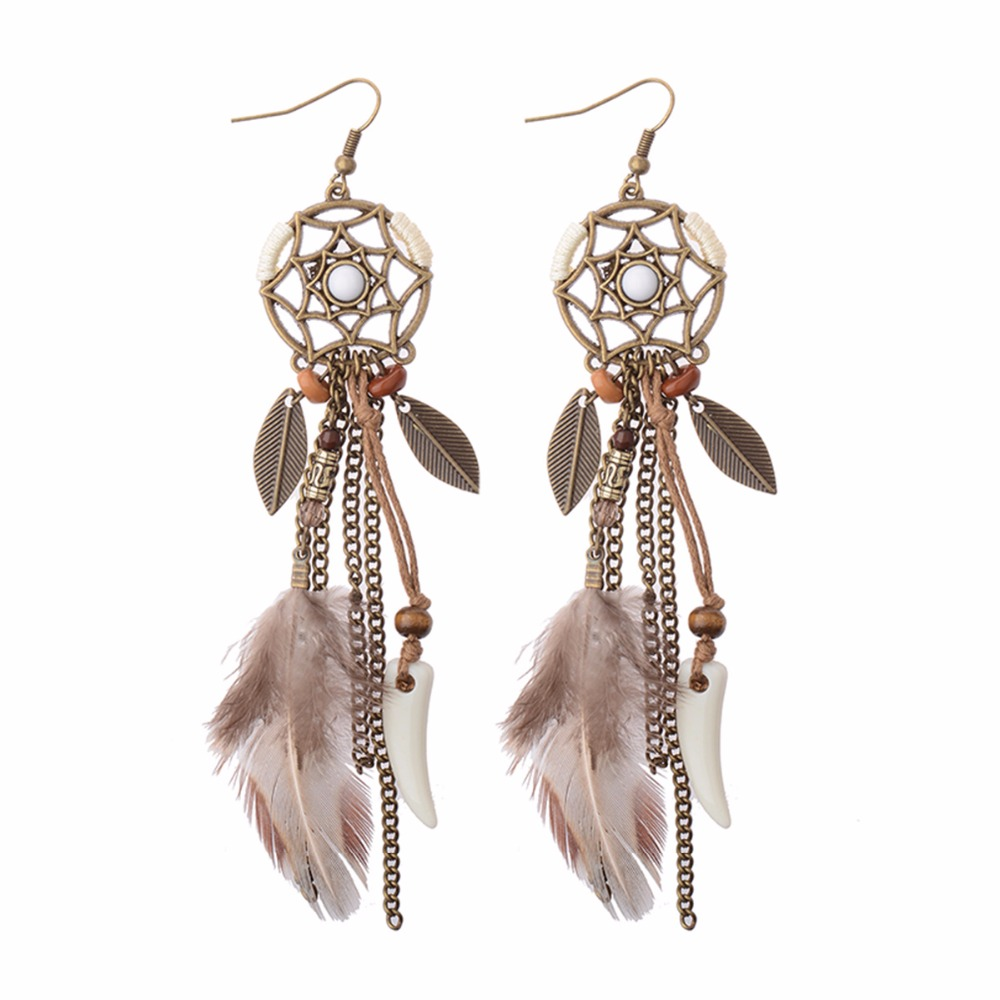 Handmade Women's Fashion Long Drop Feather Earrings Bohemia Dreamcatcher  Feather Tassel Earrings Tribal America Native Earrings