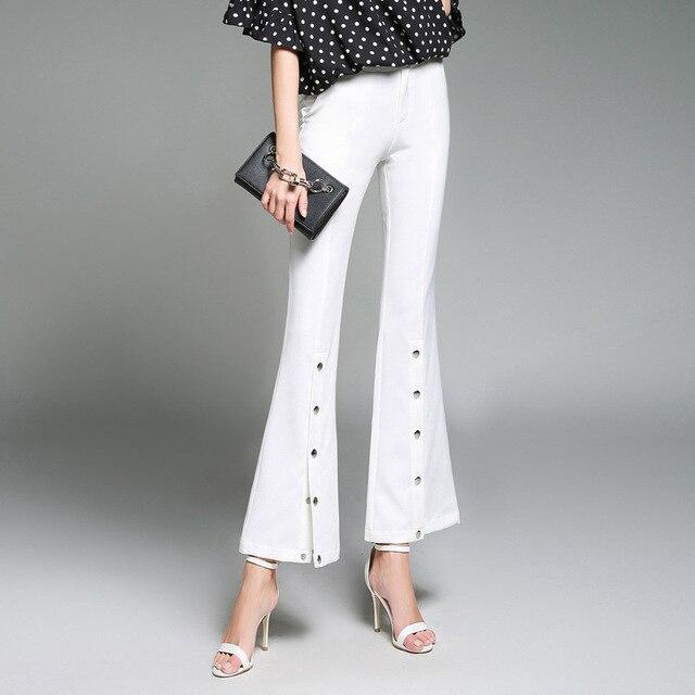 6288882dc83 1pcs Women plus size Flared pants trousers 2018 Spring Rome fabrics Open  fork white pants ladies Skinny high waist trouser Girls
