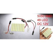 цена на Vehicle White 48 LED Panel 5050 SMD Dome Light + T10 BA9S Festoon Adapter