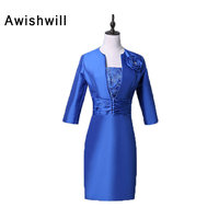 New Arrival Strapless Lace And Satin Royal Blue Evening Dresses Short Elegant Mother Of The Bride