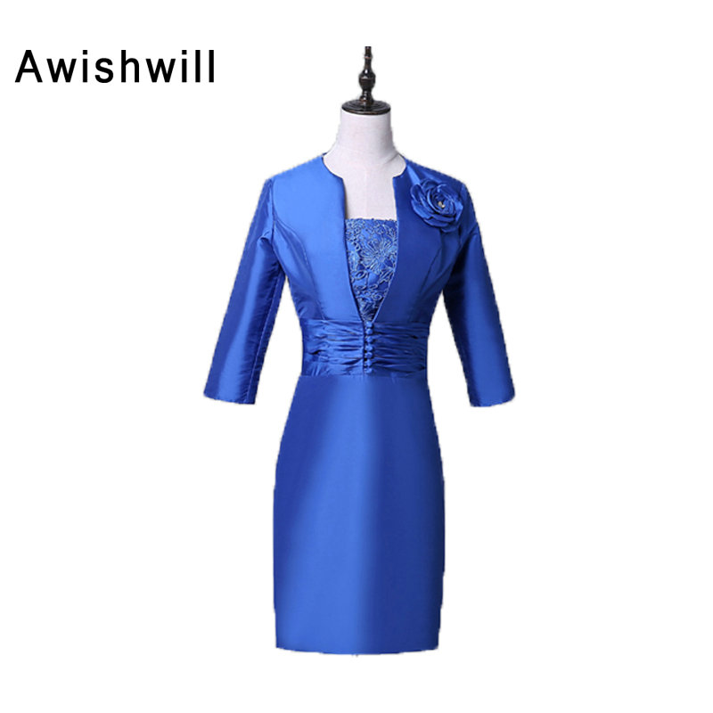 New Arrival Strapless Lace and Satin Royal Blue Evening Dresses Short Elegant Mother of The Bride Dress for Weddings With Jacket