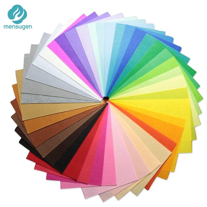 Mensugen 40 Colors/lot 20X30cm Felt Fabric,Polyester,Non-woven Felt,1 MM Thick,Handmade Fabric DIY Not Woven Cloth