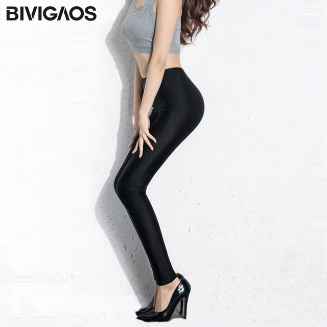 BIVIGAOS Womens Sexy Shiny Stretch Leggings Thin Ankle Pants Legins Slim Black Leggings Gothic Trousers For Women Clothing