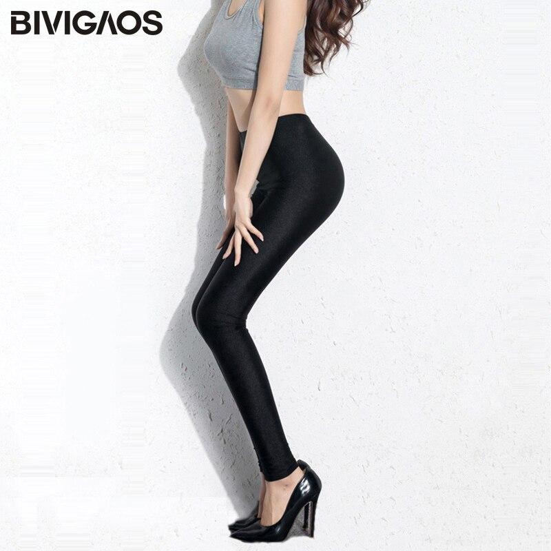 BIVIGAOS-mallas elásticas brillantes para mujer, Leggings finos hasta el tobillo, negros, góticos, ropa