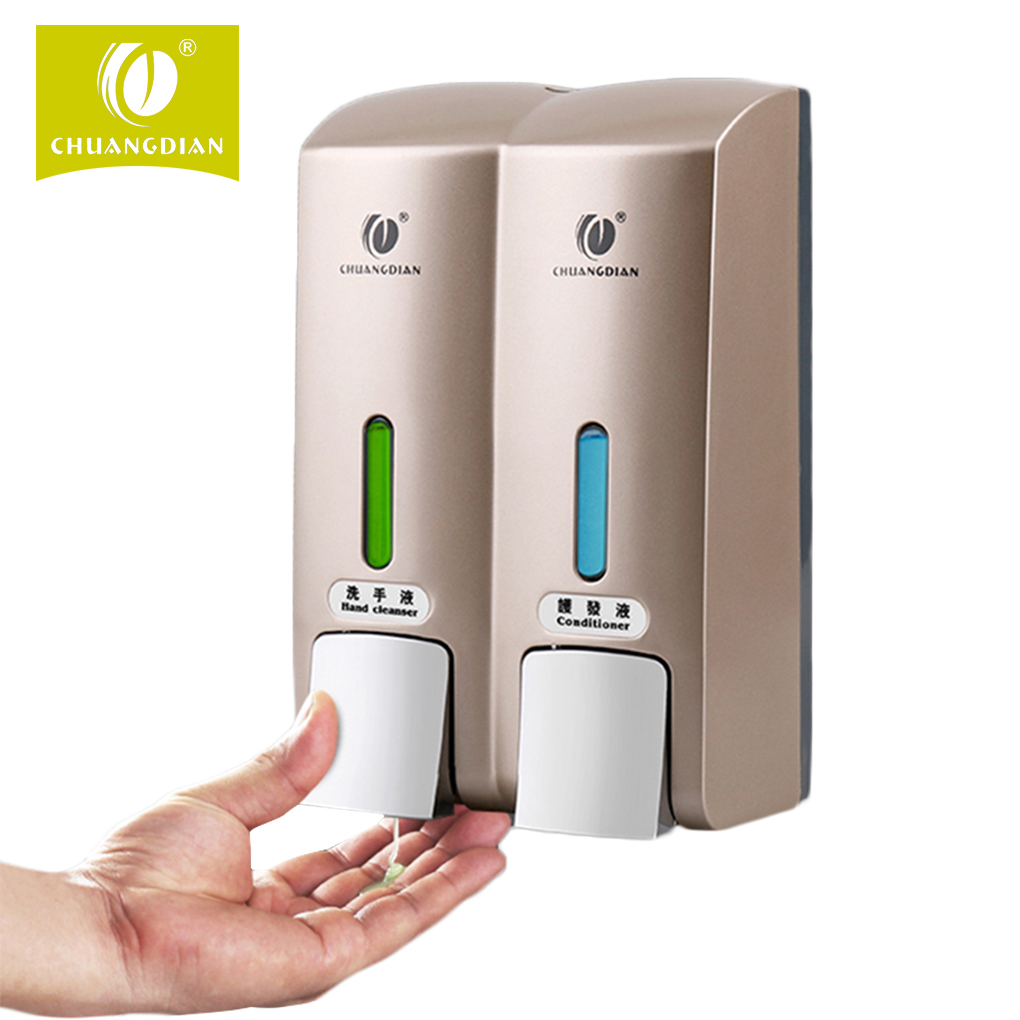 цены Manual Double Heads Toilet Shower Room Wall Mount Pump Lotion Sanitizer Liquid Soap Container Dispenser for hotel/bathroom