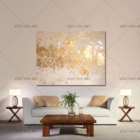 High quality Handmade thick knife abstract oil painting White and Gold abstract on Canvas Painting Decor Oil Painting artwork