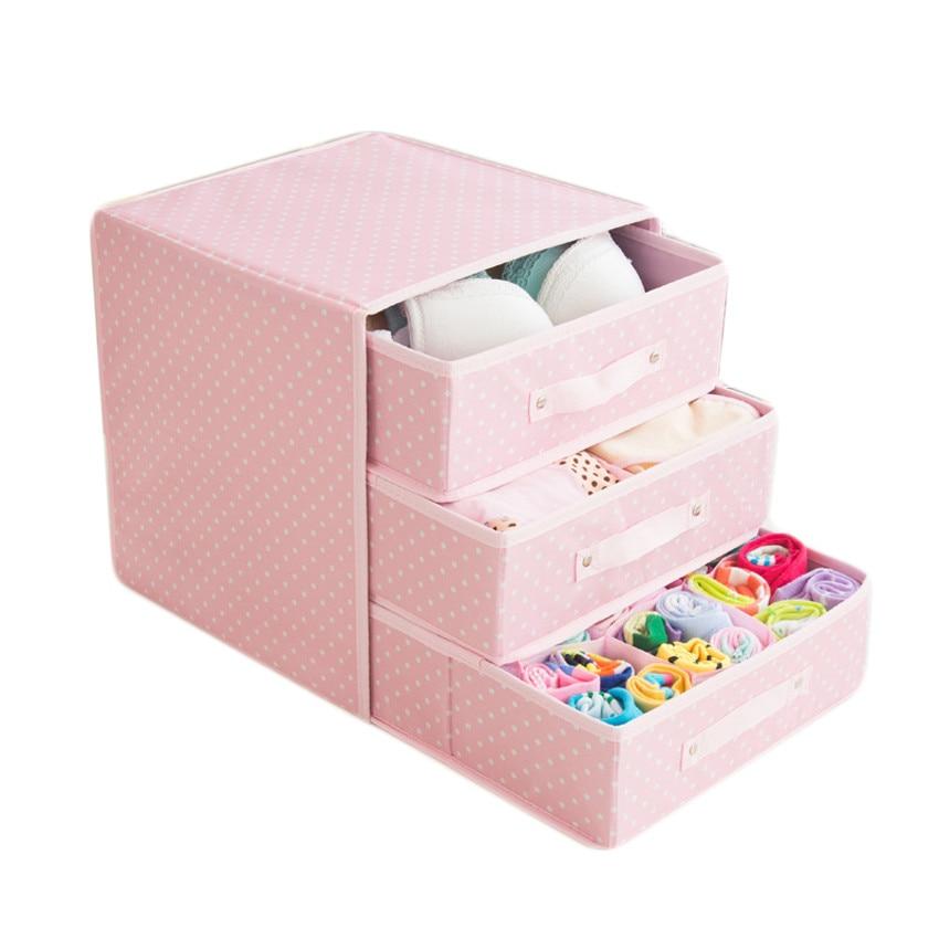 Boîte de rangement pliable en tissu Oxford 3 couches tiroirs anti-poussière sous-vêtements soutien-gorge chaussettes boîte de finition garde-robe organisateurs de placard