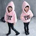 2015 niños del invierno bebés niñas sudaderas con capucha caliente del bebé niñas grueso sudaderas Casual grueso de algodón con capucha Tops para las muchachas 3-8Y