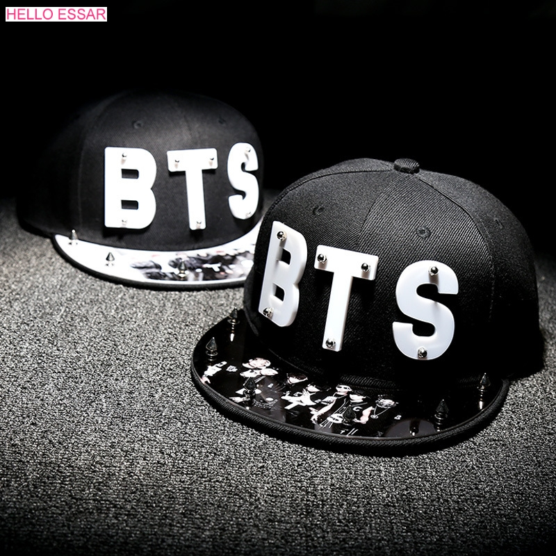 все цены на Letter BTS Star Hat Cap hot sale rivet cap baseball hats fitted hat Casual cap panel hip hop hat cap student #70005