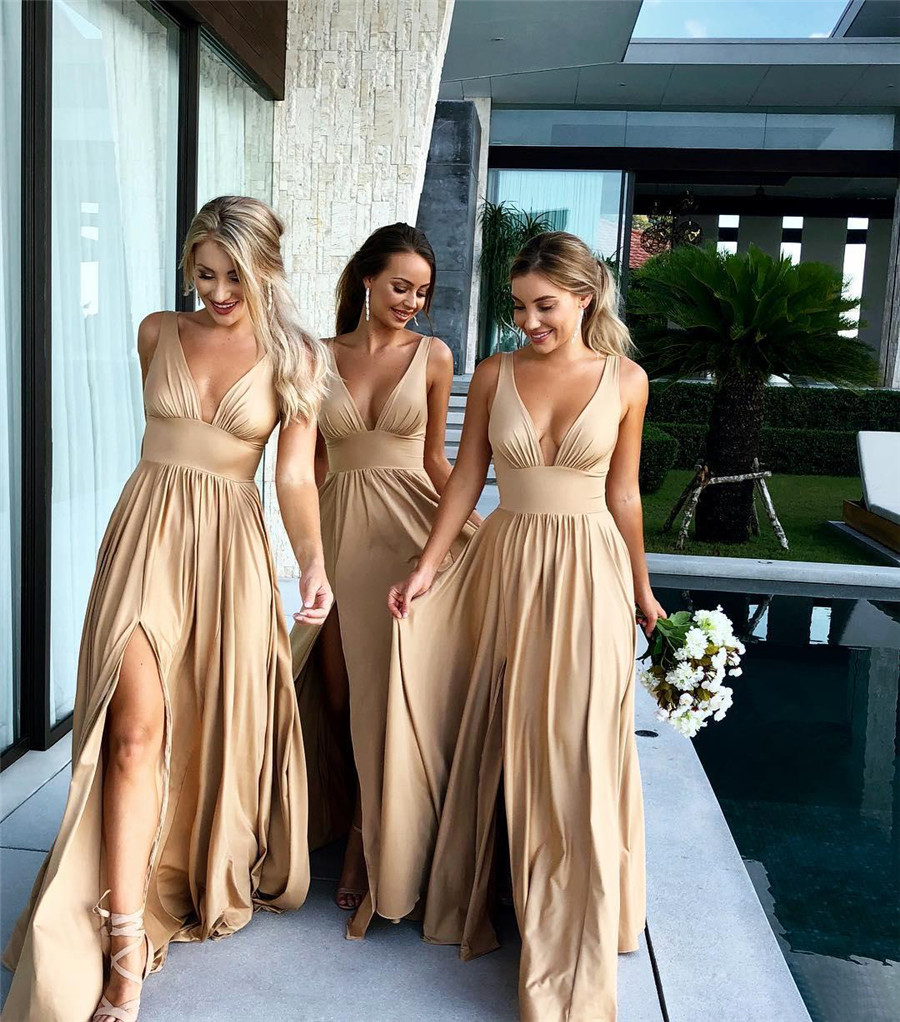 Sexy Champagne Elastic Satin Long   Bridesmaid     Dresses   2019 V Neck High Split A Line Custom Made Women Wedding Party Gowns Cheap