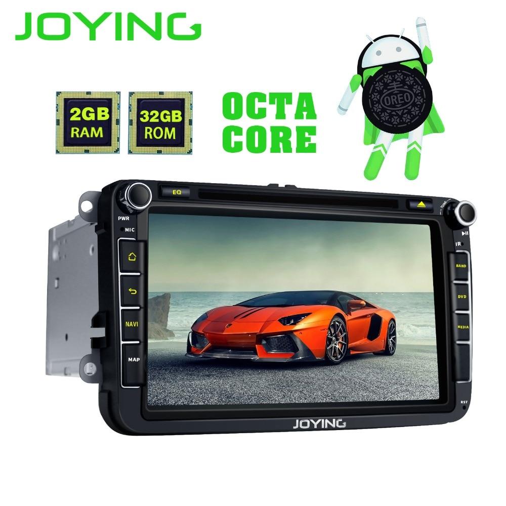 Joying 2Din Android 8.0 1024*600 Car Stereo Radio GPS Navigation Player For VW Skoda POLO GOLF PASSAT B7 B5 seat leon Head Unit joying 4gb ram android 8 0 car autoradio stereo for golf jetta caddy eos head unit for passat polo tiguan gps player for skoda