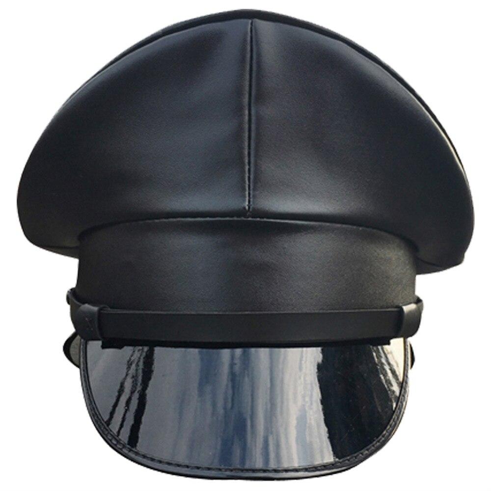 Gorra militar hombres niños PU sombrero de cuero sombrero ... dd90b57009a