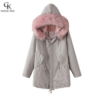 Winter Jacket Women 2016 Down Parka Plus Size Cotton Padded Coat Fur Hooded Outwear Sleeve Winter