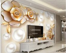 beibehang papel de parede 3d wallpaper Classic fashion wall paper European luxury gold diamond flower pearl jewelry background