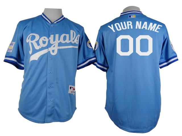 Custom throwback Kansas City Royals Baseball Jersey/shirt Authentic Personalized turn back clock kc royal jerseys stittched
