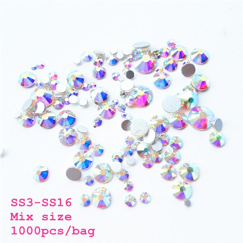Hot Sale Sale! Mix sizes SS3-SS16 clear Crystal AB color 1000pcs/Bag ...