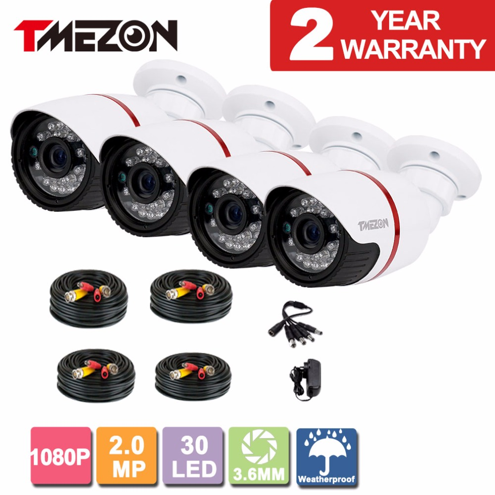 Tmezon 4pack AHD 2MP 1080P CCTV Bullet Metal Home Security Surveillance Camera Outdoor Waterproof IR CUT Night Vision wistino cctv camera metal housing outdoor use waterproof bullet casing for ip camera hot sale white color cover case