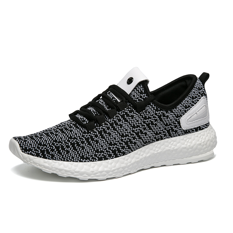 Mens running shoes ultra-light non-slip knit exercise training fitness driving slow running line shopping white gray sneakers