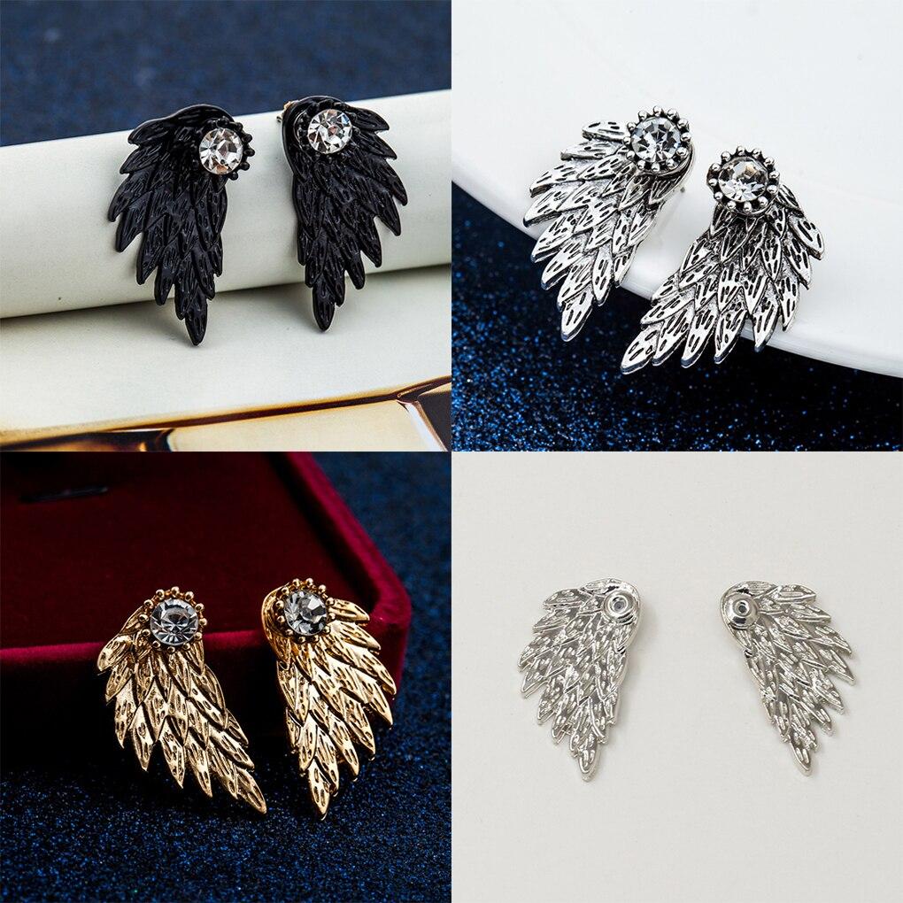 Gothic Angel Wings Brincos Da Liga Do Parafuso Prisioneiro Legal Prata Preto Brincos de Penas para As Mulheres Para As Mulheres Como Presente