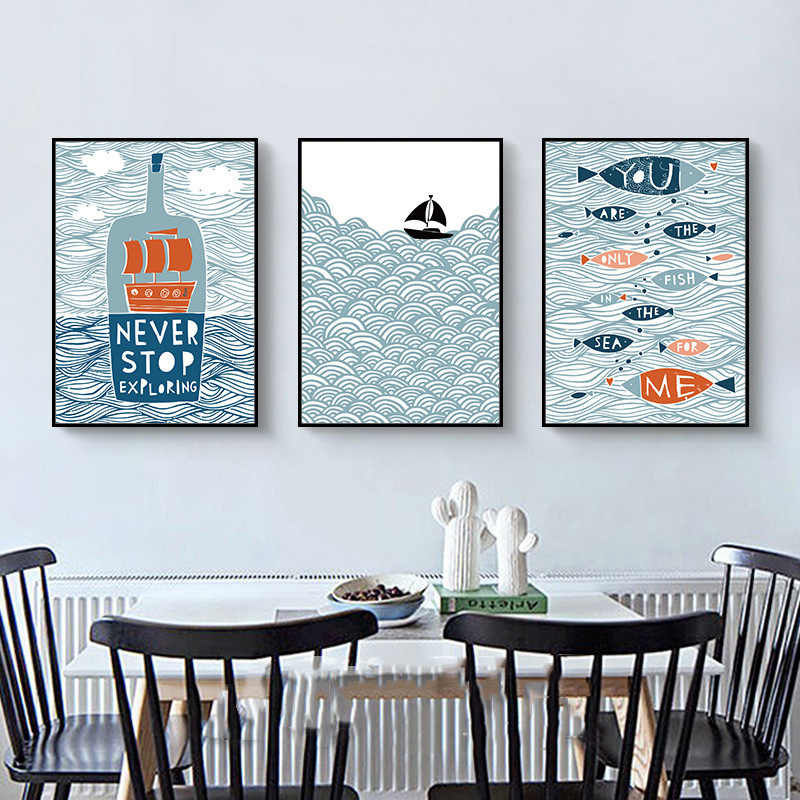 Minimalist Painting Cartoon Creative Drift Bottle Ship Fish Nordic Canvas Pictures Art Printing Poster Decor For Kids Room Wall