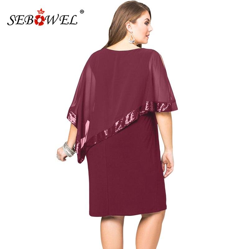 1556c119622fd SEBOWEL Sexy Black Plus Size Sequined Mesh Poncho Bodyocn Party Mini Dress  Women Elegant Large Size Nightclub Dresses 4XL 5XL-in Dresses from Women s  ...