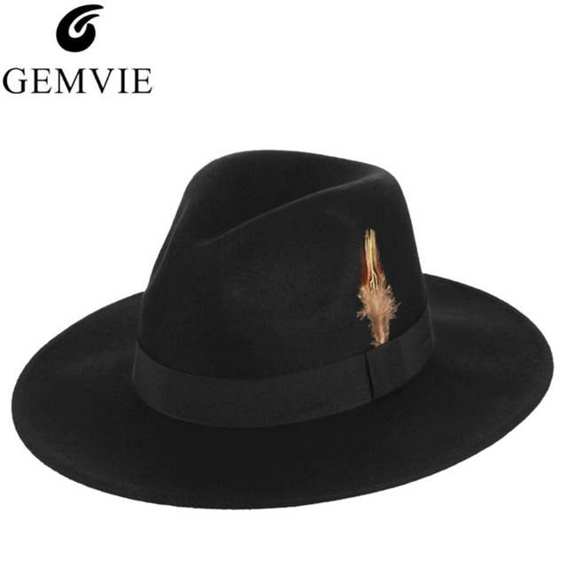 de2df48bd2a4a Black Vintage Wool Fedora Hats For Men Wide Brim Feather Decorative Church  Hat Male Jazz Cap
