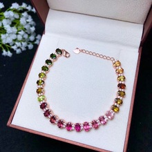 Tourmaline-Bracelet 925-Sterling-Silver Gems Natural Ladies Fashion Beautiful-Color Many