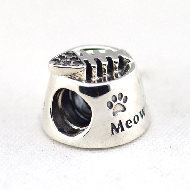 Fits For Pandora Charms Bracelets Cat Bowl Beads With Clear Cz 100