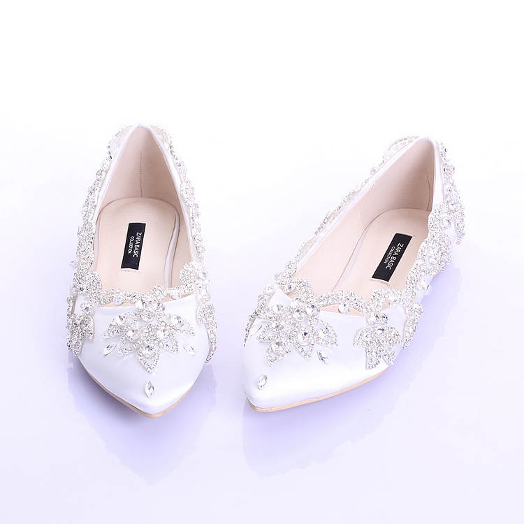 Champagne Satin White Crystal Flat Wedding Shoes Women Fashion Pointed Red Rhinestone Bridal In S Flats From On