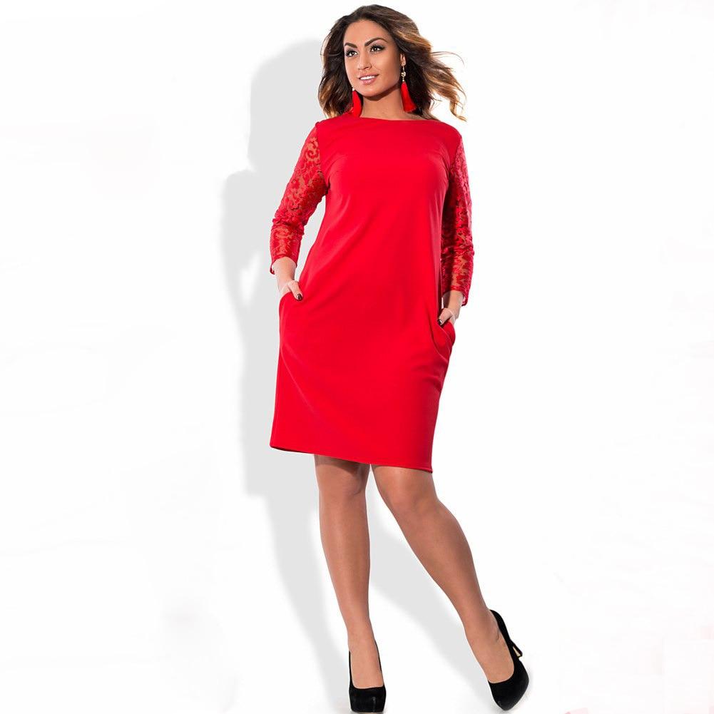 2a1f3b93bb3 Plus Size Dress Women Stitching Floral Lace Three Quarter Sleeve Pockets  Midi Elegant Office Party wear