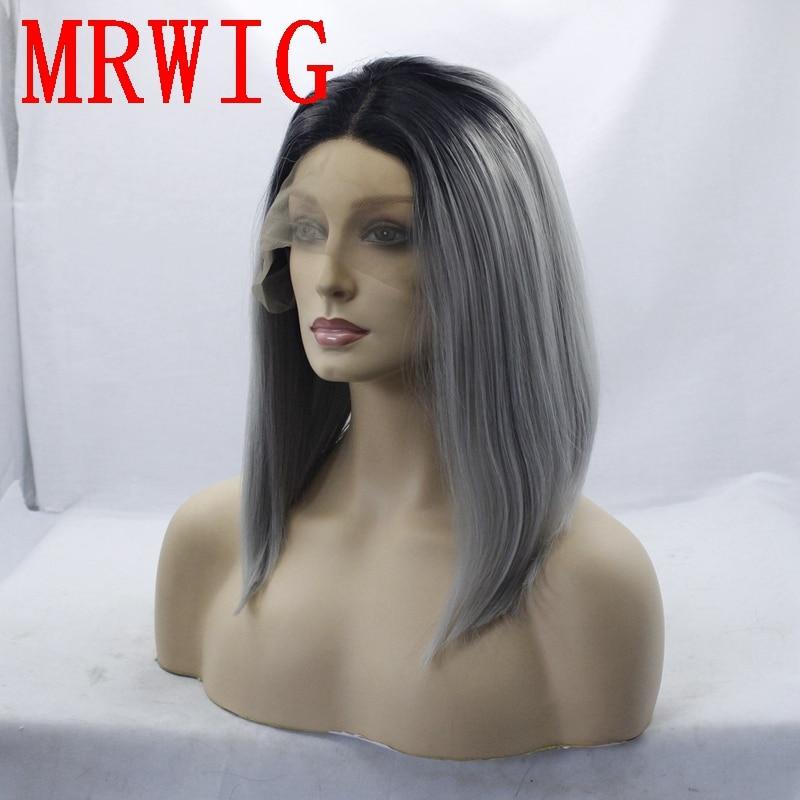 MRWIG 12 i kort bob rak syntetisk glansfri frampärm mittparti äkta - Syntetiskt hår - Foto 3