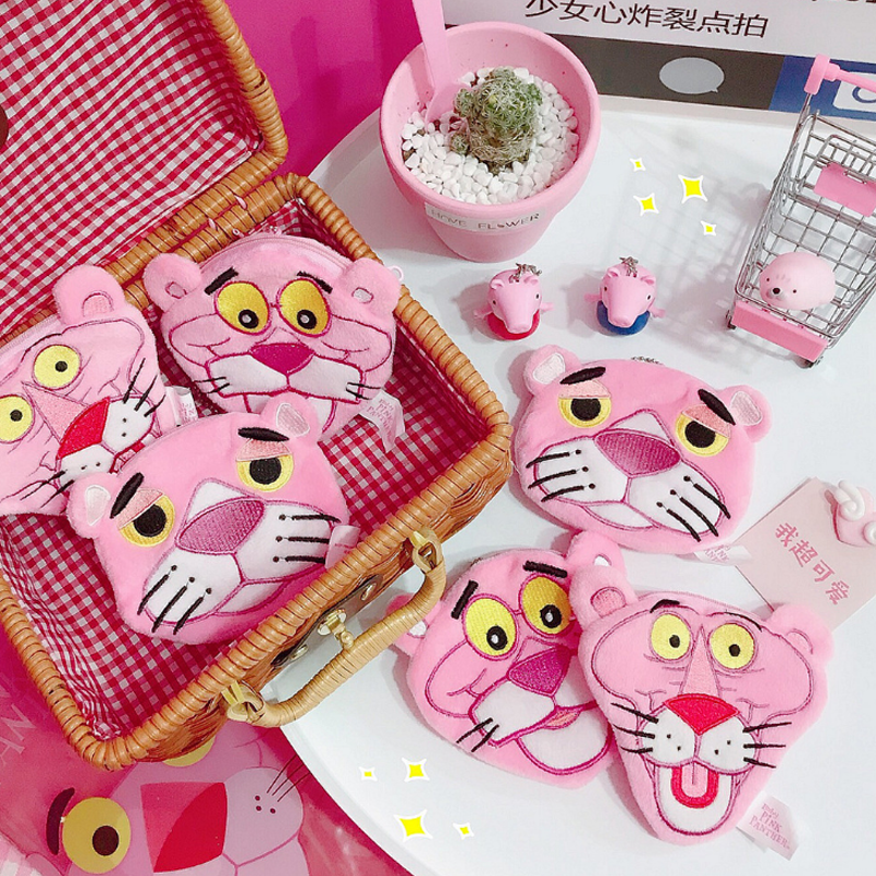 1 Pcs Hot Cartoon Pink Panther Plush Zero Purse Pink Leopard Bundle Pocket Naughty Leopard Coin Purse Stationery Card Holders