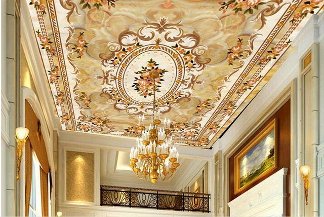 3d personalizzato soffitti affrescati wallpaper Beige pietra carta da parati per il bagno 3d ...
