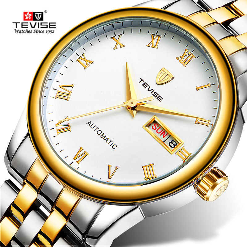 TEVISE Mechanical Watch Men Luxury Waterproof Automatic Self-Wind Analog Watches Auto Date Stainless Steel Mens Wristwatch reloj tevise fashion casual men automatic watch silver stainless steel auto date mechanical self wind original brand wristwatch 8377g