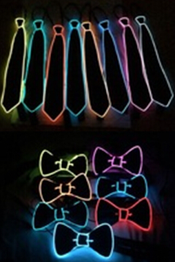 2016 Fashion Glowing Flashing EL Sound Activated Electronic Flashing DJ's Tie for party bar club with Red pink blue green el