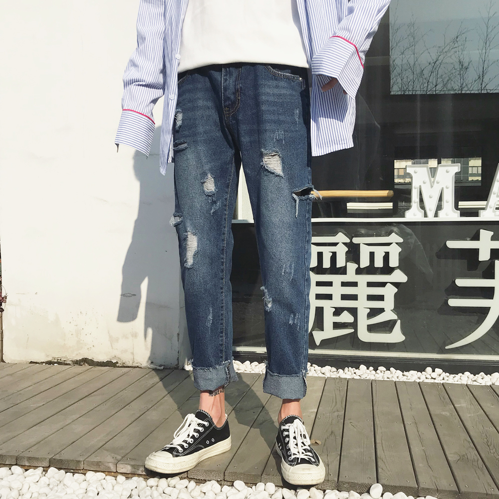 2018 Spring Summer New Men Fashion Casual Holes Loose Blue Color Cowboy Pants Tide High-quality Bound Feet Jeans Trousers M-2XL