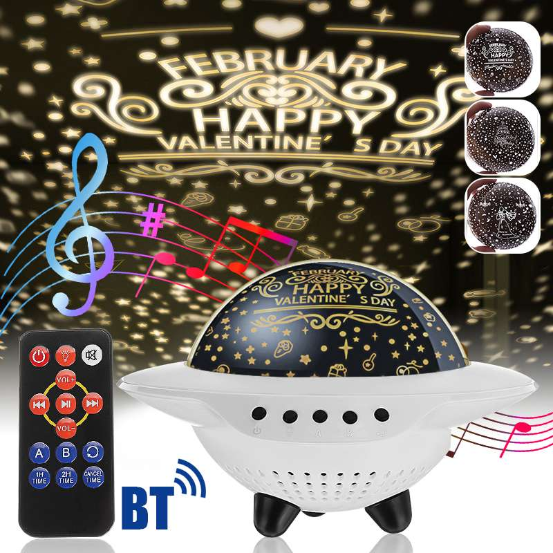 Starry Star Projection Night Light Colorful LED USB Battery Light Table Lamp Wireless Speaker TF Card AUX Stereo Music Speaker