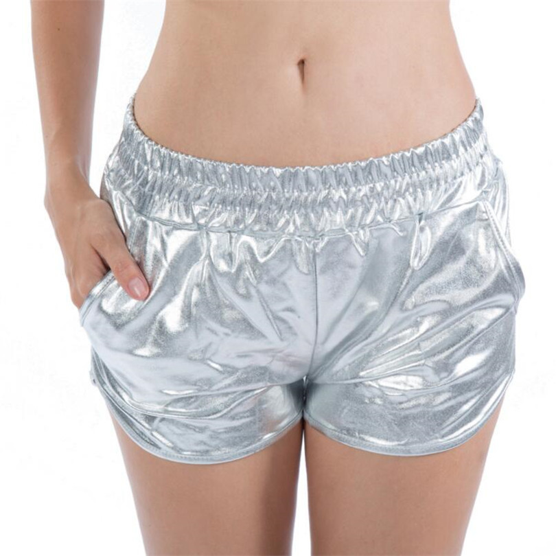 VISNXGI New Summer Bright Leather   Shorts   Sexy   Short   Women Loose Pocket Elastic Waist Female Party Club Bright   Shorts   Plus Size